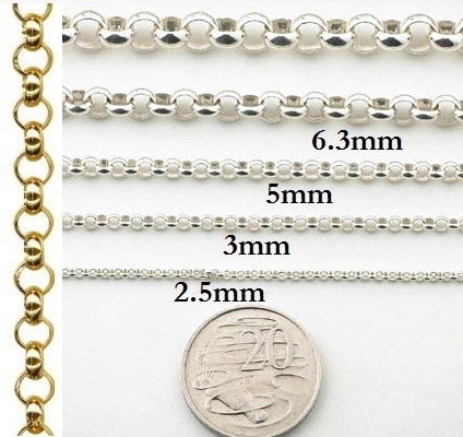 Necklaces - ROUND BELCHER - Sterling Silver or 9ct Gold