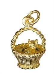 Charm - KITTEN IN A BASKET - Sterling Silver or 9ct Gold