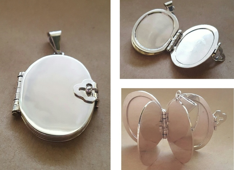 Locket - DOUBLE OVAL BOOK - Sterling Silver