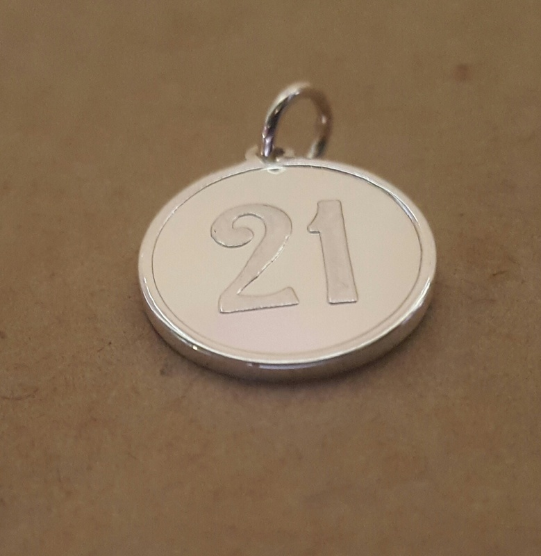 21 Number Pendant Charm Silver Or Yellow Rose Or White