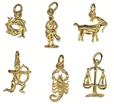 Charm - SMALL ZODIAC - Sterling Silver or 9ct Gold