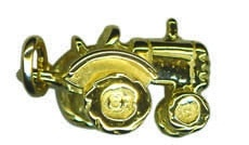 Charm - TRACTOR WITH MOVING WHEELS - Sterling Silver or 9ct Gold