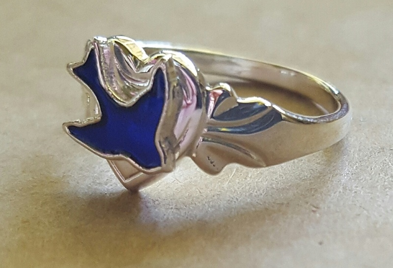 Ring Signet Ready Made Blue Bird Sterling Silver For