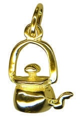 Charm - KETTLE - Sterling Silver or 9ct Gold