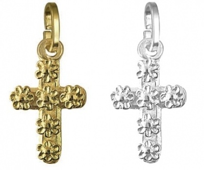 Pendant Or Charm - BABY DAISY CROSS - Sterling Silver or 9ct Gold