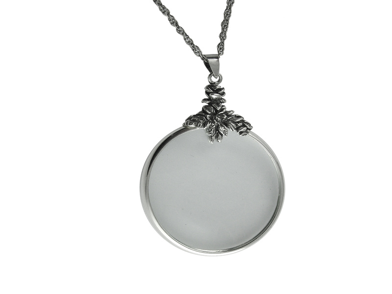 Magnifying glass pendant sterling silver ari d norman on chain necklace magnifying glass chain sterling silver mozeypictures Image collections