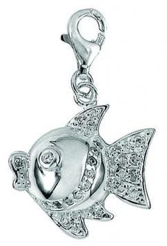 Clip-on Charms - KISSY FISH - Sterling Silver & Crystal