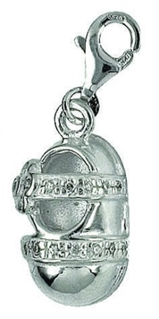 Clip-on Charm - BABY BOOTIE - Sterling Silver & Crystal