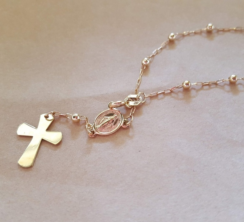 Bracelet - FINE ROSARY - 9ct Yellow Gold