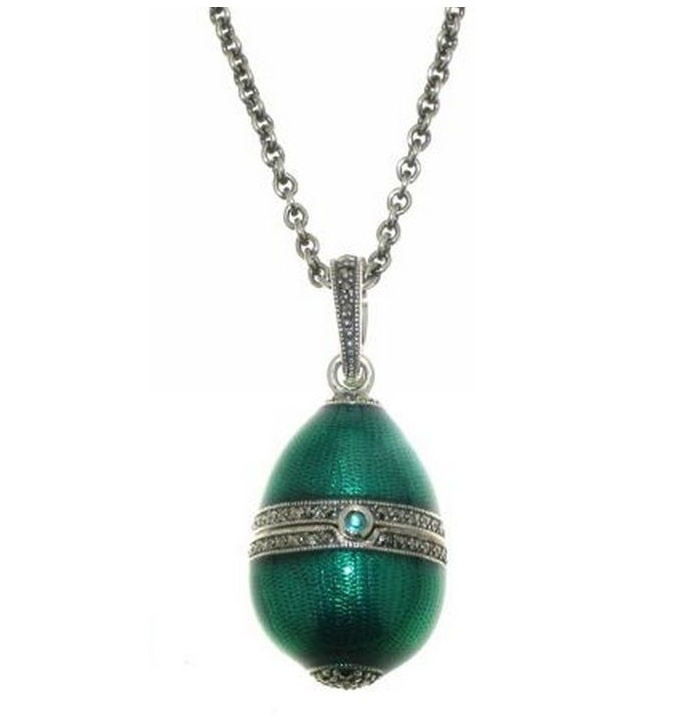 Jewelled Egg - ELENA - Enamel, Emerald, Marcasite