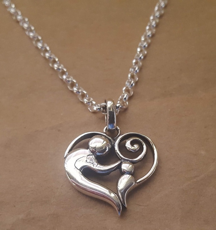Pendant - MOTHER & CHILD HEART - Sterling Silver