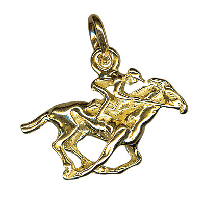 Charm - HORSE RACING - Sterling Silver or 9ct Gold