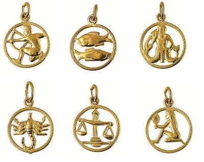 Charm - CIRCLE ZODIAC CUT OUT - Sterling Silver or 9ct Gold