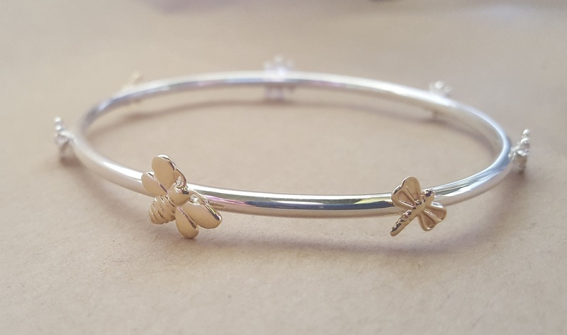 Bangle - CHARM STORY - Sterling Silver & 9ct Gold