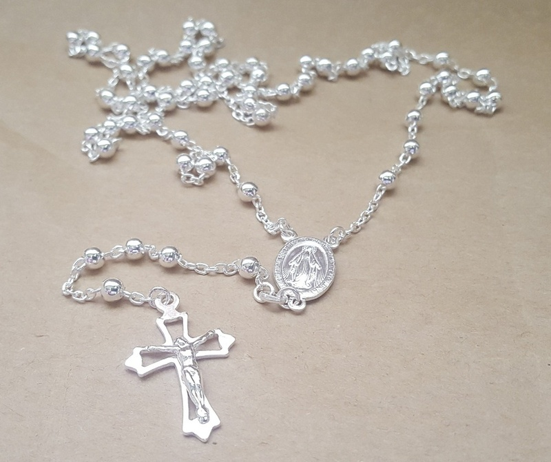 Beads - ROSARIES - Sterling Silver & 18ct Gold