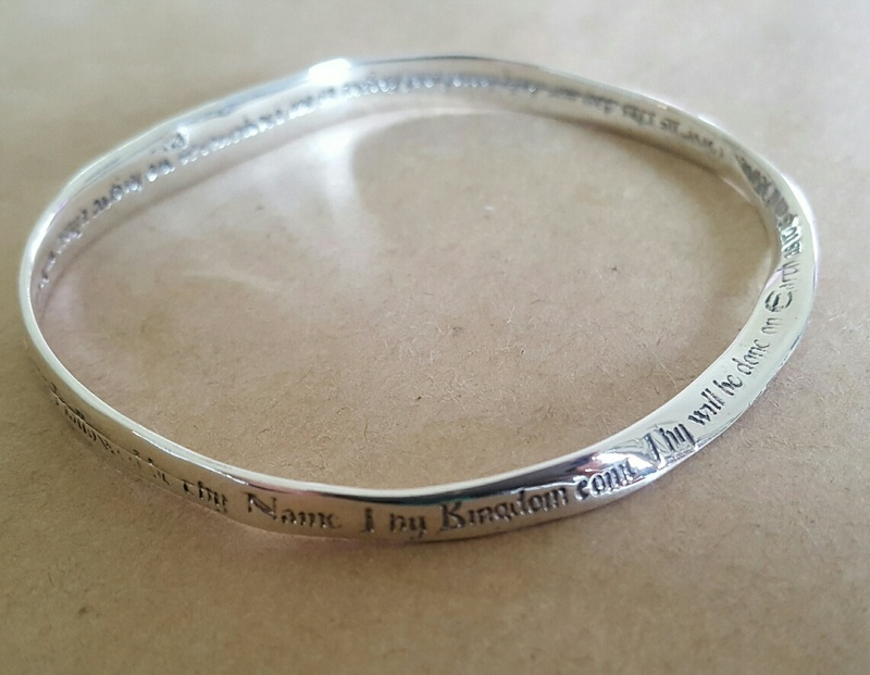 Bangle - LORD'S PRAYER - Well Loved Design -  Sterling Silver