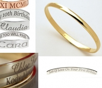 Laser Engraved Rings And Bangles Sterling Silver And 9ct