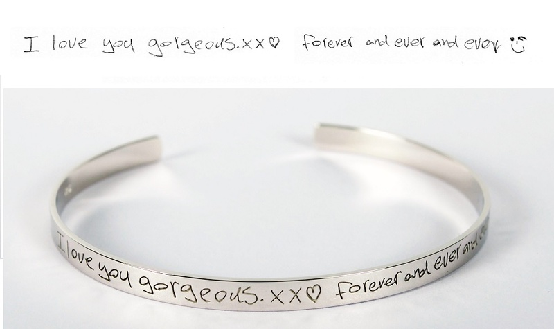 Cuff or Bangle - YOUR HANDWRITING - Laser Sterling Silver or 9ct gold