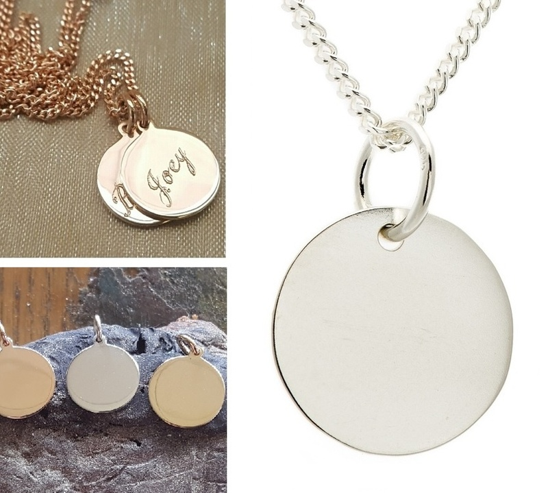 Pendant or Charm - PLAIN DISC FOR ENGRAVING - Sterling Silver or 9ct Gold