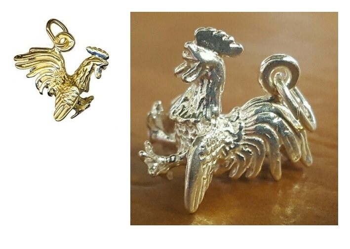 Charm - ROOSTER FLYING - Sterling Silver or 9ct Gold