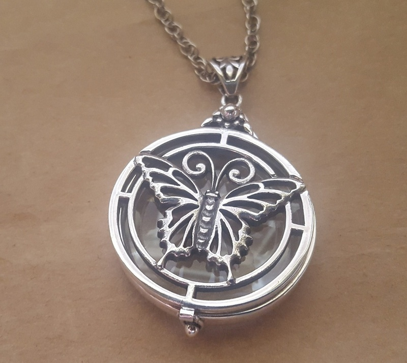 Magnifying glass butterfly pendant in sterling silver with chain share aloadofball Gallery
