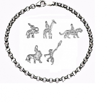 CHARMED BY JUNGLE ANIMALS Bracelet - Sterling Silver