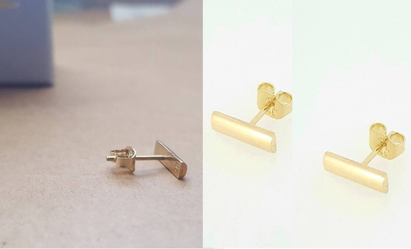 Earrings -TINY BAR STUD - Sterling Silver or 9ct Gold