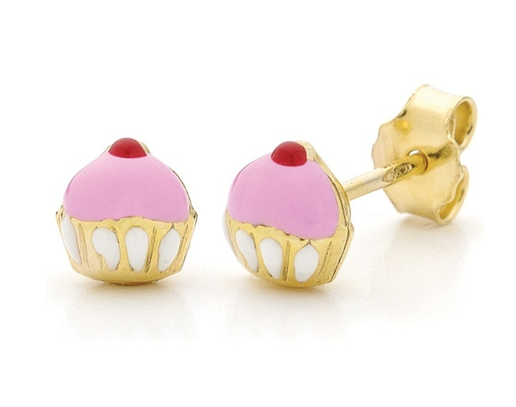 Piccolo Earrings - CUPCAKE STUDS - 9ct Gold