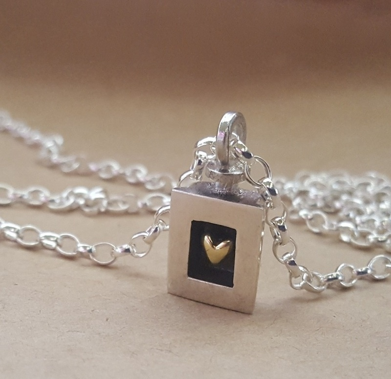 Alan Ardiff Necklace - HEART OF GOLD - Sterling Silver & 18ct Gold