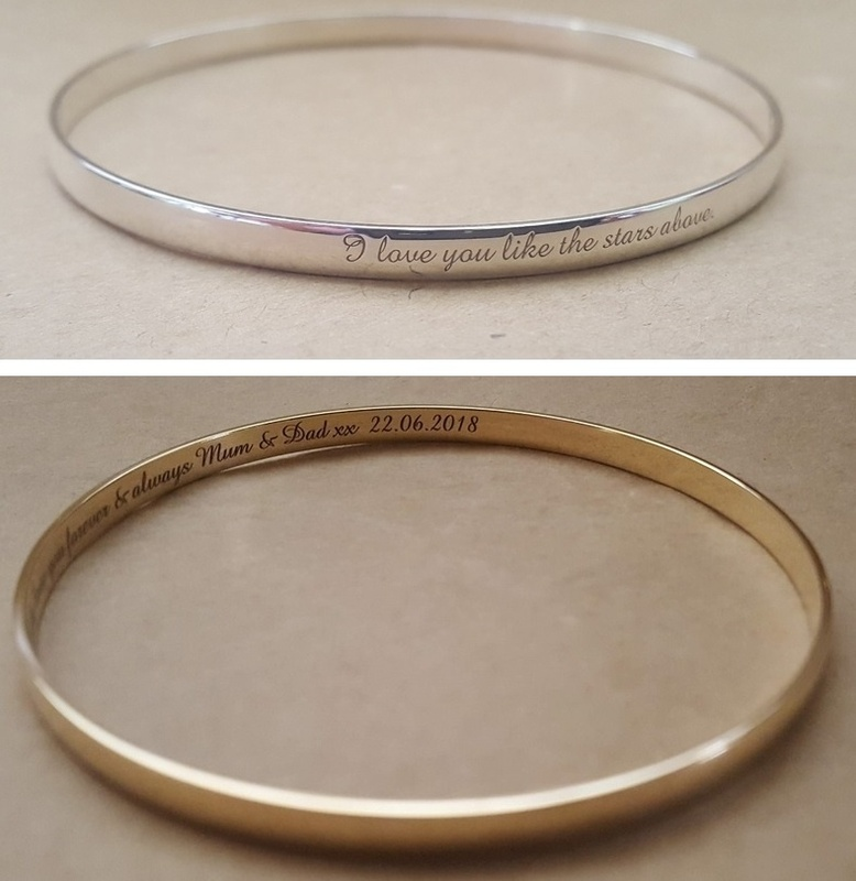 68b7f87fe2620 Laser Engraved Bangle - CLASSIC - Sterling Silver or 9ct Gold