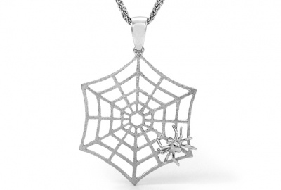 Pendant - SPIDER AND WEB - Sterling Silver