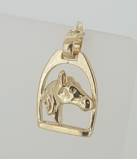 Charm - HORSE HEAD IN STIRRUP - Sterling Silver or 9ct Gold