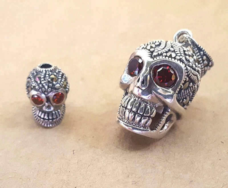Pendant - SUGAR SKULL - Sterling Silver and Marcasite