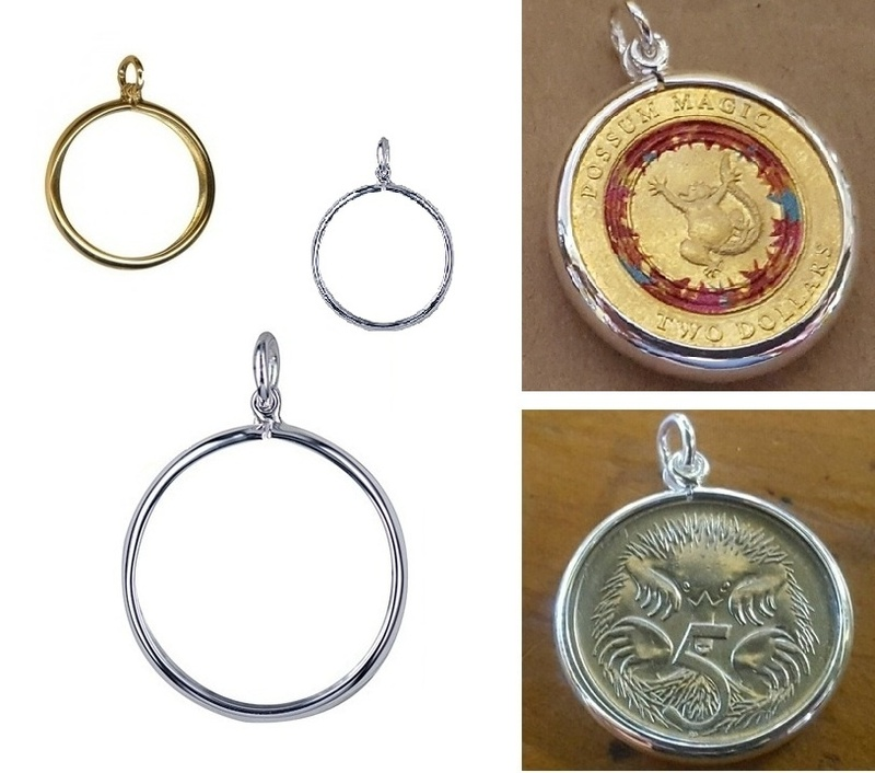 Coin frame locket pendants to hold collectors pennies and money in locket pendant coin frame plain sterling silver or 9ct yellow gold aloadofball Gallery