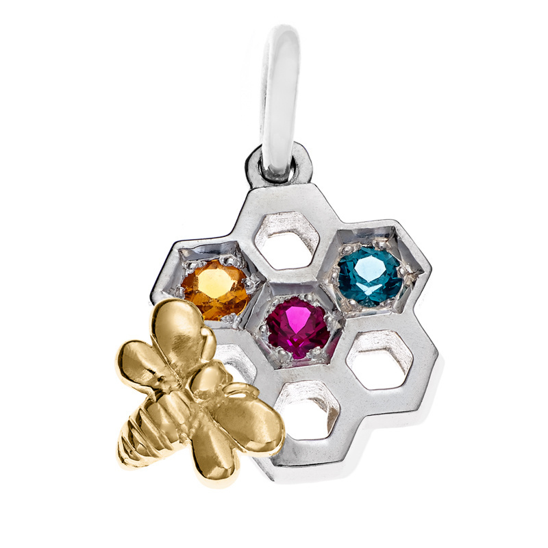 Pendant - QUEEN BEE'S HONEYCOMB - Sterling Silver or 9ct Gold