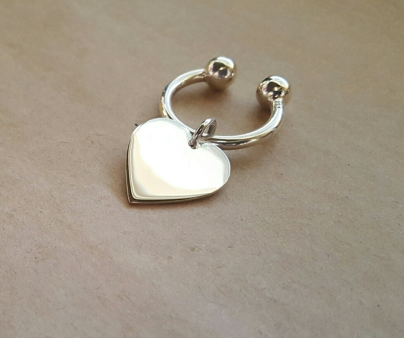 Keychain - BIG HEART - Sterling Silver