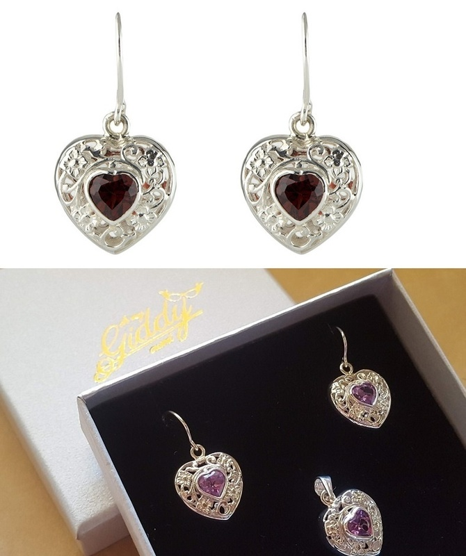 Earrings - FILIGREE GEMSTONE HEART - Sterling Silver or 9ct Gold