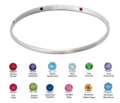 Bangle - BIRTHSTONES - Sterling Silver or 9ct Gold