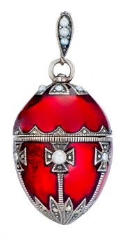 Jewelled Egg - GRETCHEN - Ruby Red Enamel, Pearl & Marcasite