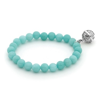 Harmony Ball Bracelet - AMAZONITE 8mm - Bella Donna Sterling Silver