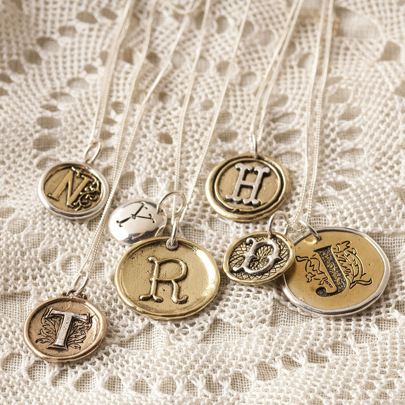 Pendant - Palas LETTERS - Sterling Silver and Brass
