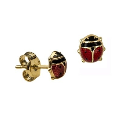 Earring Studs - LADY BEETLES - 9ct Yellow Gold