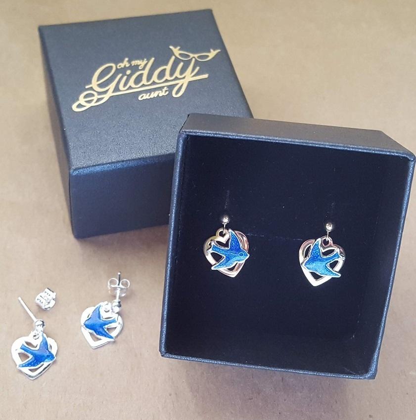 Bluebird Earrings Drop Heart Bluebird Jewellery Australia