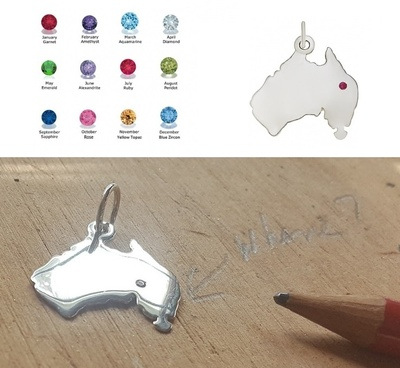 Pendant or Charm - MADE IN AUSTRALIA - Birthstone, Sterling Silver or 9ct Gold