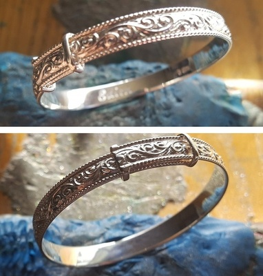 Bangle Expanding - 5mm EMBELLISHED - Child/Teen - Sterling Silver or 9ct Gold