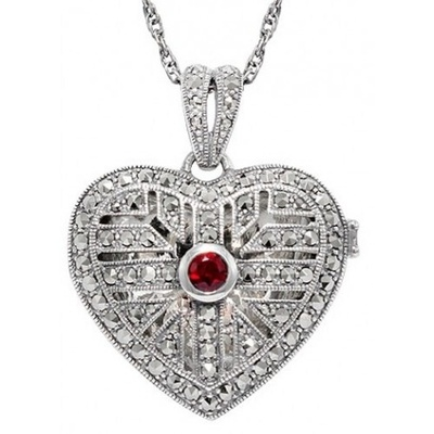 Locket - MARCASITE & GARNET HEART - Sterling Silver & Chain