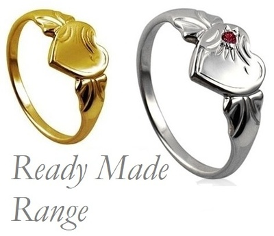 Signet Ring - READY-MADE HEART - Sterling Silver or 9ct Gold