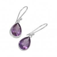 Earrings - AMETHYST DROP - Sterling Silver