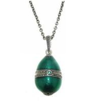 Jewelled Egg - ELENA - Enamel, Emerald, Marcasite