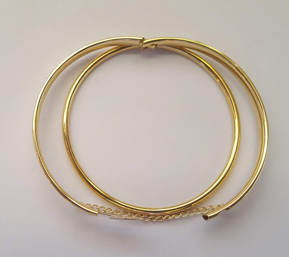 9ct gold baby bangles solid and hinged